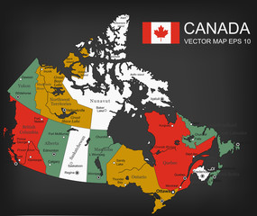 Canada map with provinces. All territories are selectable. Vector
