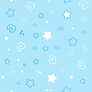 Seamless pattern baby set on blue background. cute illustration of a delicate, soft color.