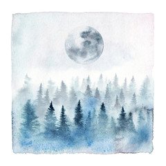 Watercolor painting of a foggy forest with spruce trees and full moon. Hand painted winter landscape isolated on white background.