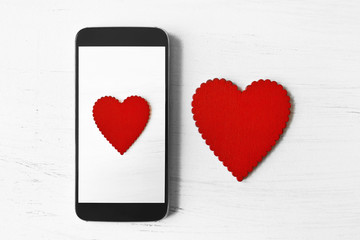 Valentines Day heart on smartphone