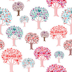 Colorful trees with heart leaves seamless pattern. Vector illustration on white background
