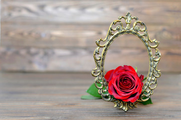 Mothers Day background with red rose in the vintage frame