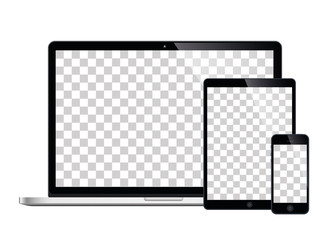 laptop smartphone and tablet mockup white background - stock vector.