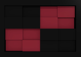 abstraktes Würfelmuster in altrosa und schwarz. 3d render