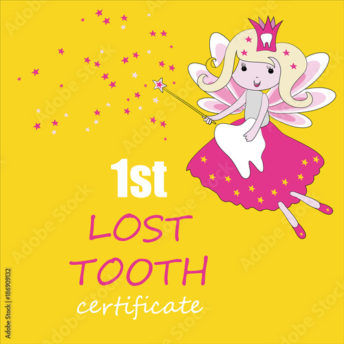 image relating to Tooth Fairy Card Printable named Teeth fairy with magic adhere and famous people. Vector instance