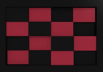 abstraktes Schachbrettmuster in altrosa und schwarz. 3d render