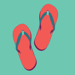 Summer red  flip flops. vector illustration on light turquoise background