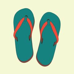 Summer green flip flops. Vector illustration on light yellow background