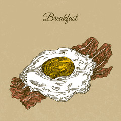 Breakfast with scrambled egg. Eggs and bacon. Engraving style. Vector illustration.
