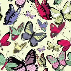 Colorful butterflies seamless pattern. Vector illustrattion on yellow background