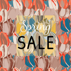 Spring Sale. Blue, red and beige tulips seamless pattern. Vector illustration