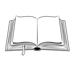 Open book coloring vector illustration
