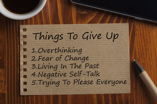 Things To Give Up written on recycled page
