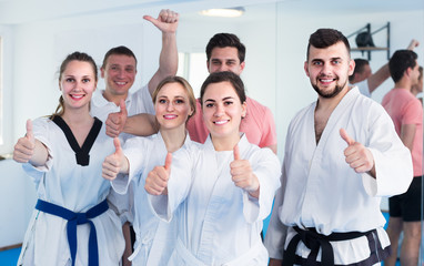 trainees expressing interest in attending karate class