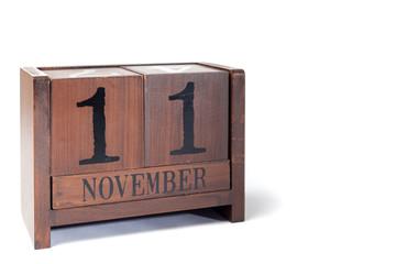 Wooden Perpetual Calendar set to November 11th