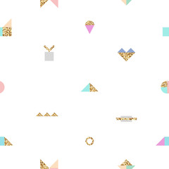 Abstract trendy seamless pattern with different geometric shapes with gold texture. Best design for background, textile, fabric. Vector illustration
