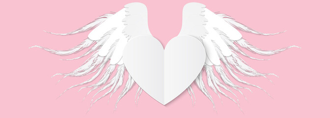 Heart with wings. Valentines Day vector illustration. Cute paper style picture. Winged heart,  pink background.