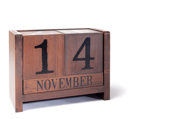 Wooden Perpetual Calendar set to November 14th