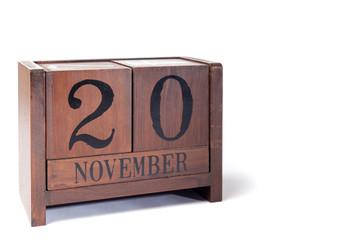 Wooden Perpetual Calendar set to November 20th