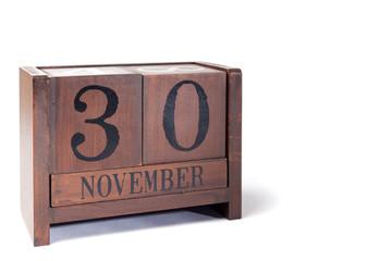 Wooden Perpetual Calendar set to November 30th