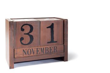 Wooden Perpetual Calendar set to November 31st