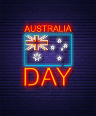 Australia day. Neon sign on brick wall. Australian National Holiday. Flag and text