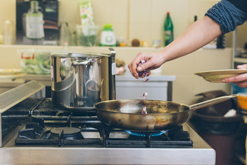 Female chef making dish in pan