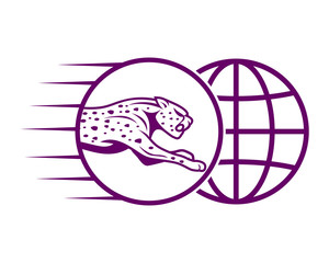 purple leopard cheetah tiger jaguar beast animal image vector