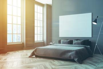 Gray bedroom corner, poster toned