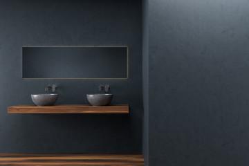 Black bathroom, double sink