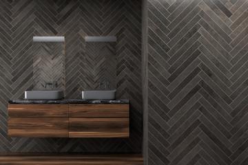 Black wooden bathroom, double sink
