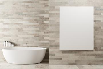 White wooden bathroom, poster, tub