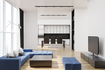 White living room and kitchen, blue