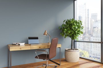 Gray home office interior