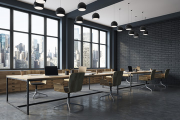 Black brick meeting room corner
