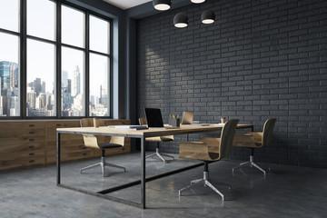 Black brick meeting room interior side