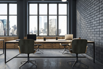 Black brick open space office interior