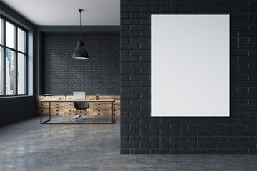 Black brick CEO office interior, poster