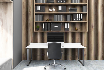 Wooden wall home office interior