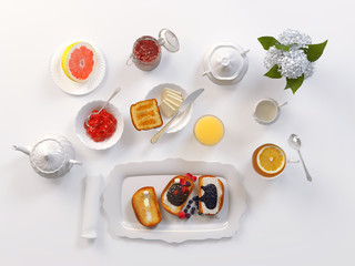 Breakfast with tea, toasts, butter, juice, jam and grapefruit isolated on white. 3D illustration