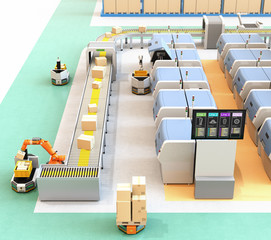 Smart factory with AGV, robot carrier, 3D printers and robotic picking system. 3D rendering image.