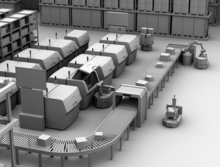 Clay model rendering of AGV (Automatic guided vehicle) picking parts from metal 3D printer. Smart factory concept  3D rendering image.