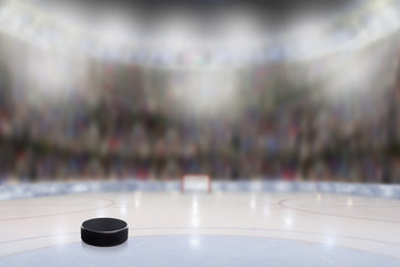 Ice Hockey Puck in Rink Arena With Copy Space