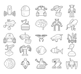 Robot icon set, outline style
