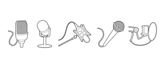 Microphone icon set, outline style