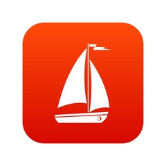Boat icon digital red