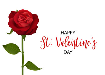 Single realistic red rose St Valentine's day card. Love single flower Valentines banner frame. Beautiful holiday blossom invitation. Vector colored illustration. Spring summer wedding background