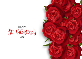 Love flower bouquet Valentines banner frame. Beautiful holiday blossom invitation. Vector colored illustration. Spring summer wedding background. Realistic red rose St Valentine's day card.