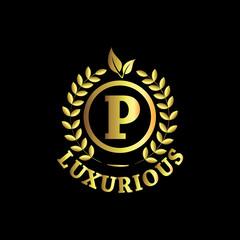 P Luxurious Logo Gold Vector Template Design