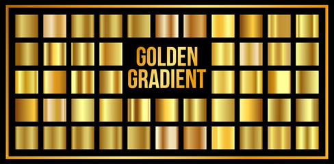 vector texture set of gold gradients. Shiny, metallic collection.